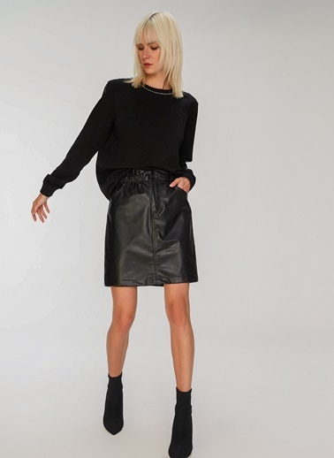 People By Fabrika Taş Detaylı Sweatshirt Siyah